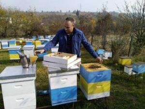 Ilustracija: Đorđe Marković na svom pčelinjaku, foto: Dejan Davidović